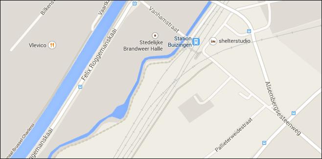 Plannetje station Buizingen (Google Maps)